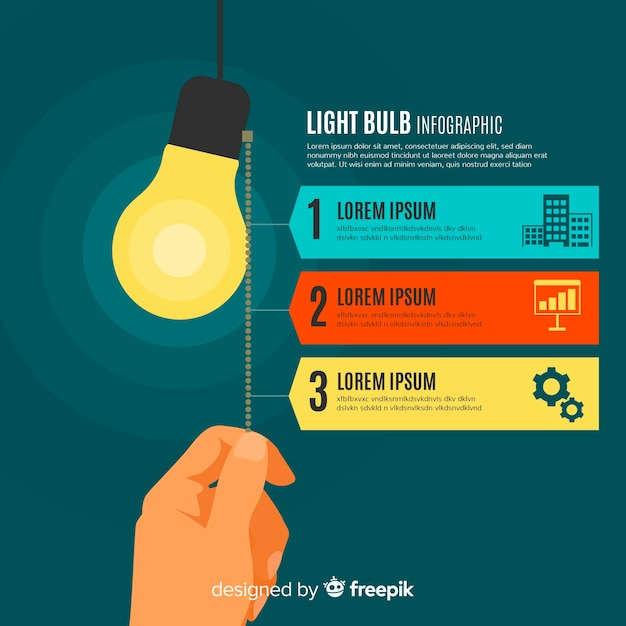 Flat bulb infographic Free Vector