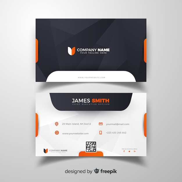 Flat business card Free Vector