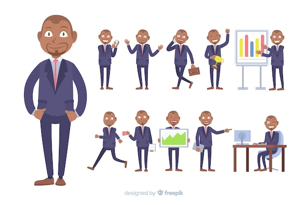 Flat business character in different postures Free Vector