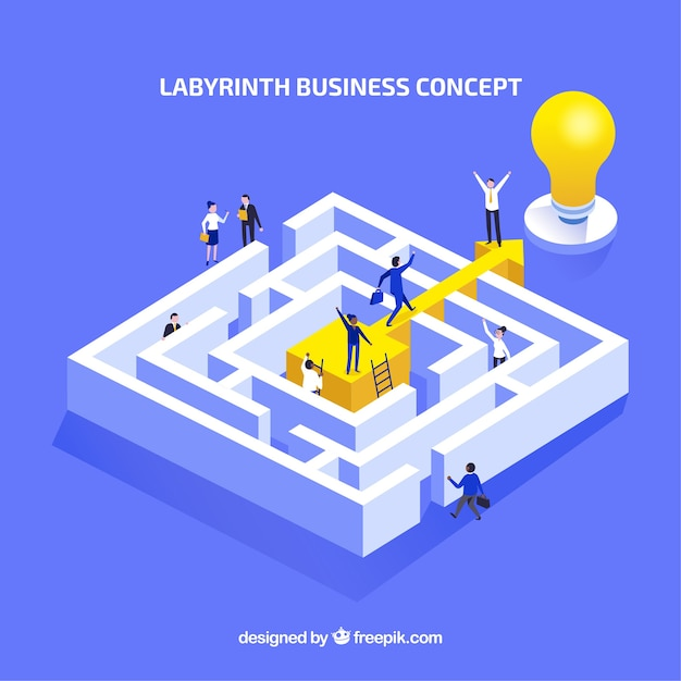 Flat business concept with labyrinth Free Vector