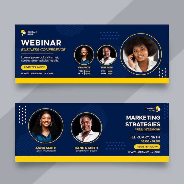 Flat business conference banners design Free Vector