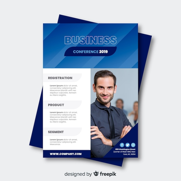 Flat business conference brochure template Free Vector
