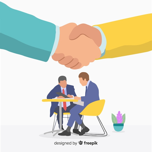 Flat business deal concept Free Vector