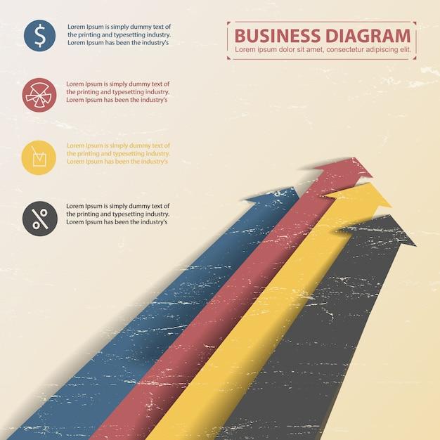 カラフルな矢印といくつかのテキストフィールドを持つフラットビジネスダイアグラムテンプレート 無料ベクター
