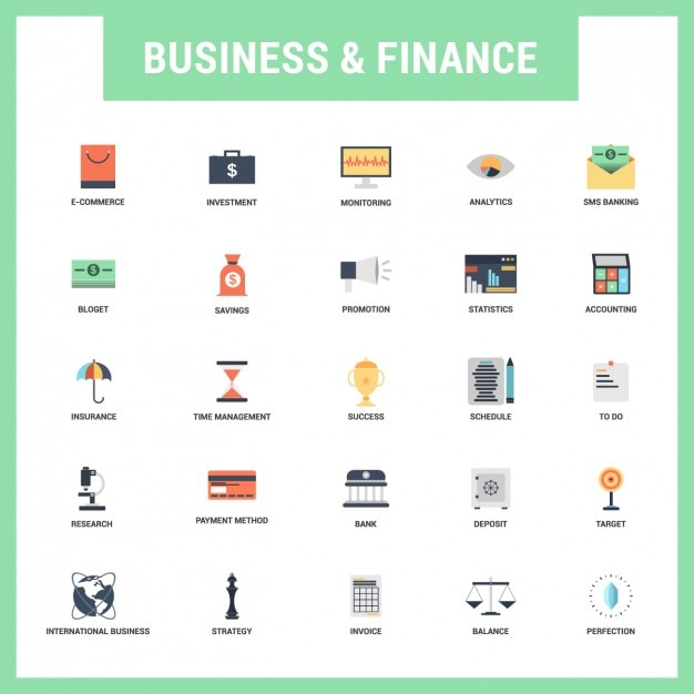 Flat business and finances icons set Free Vector