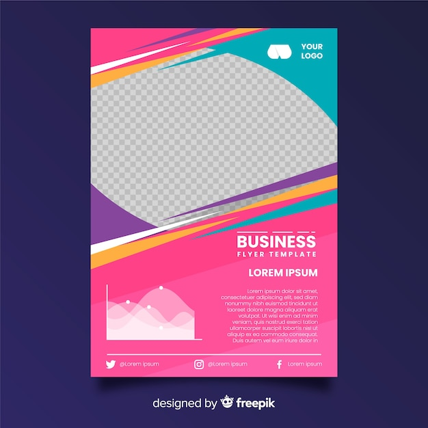 Flat business flyer template Free Vector