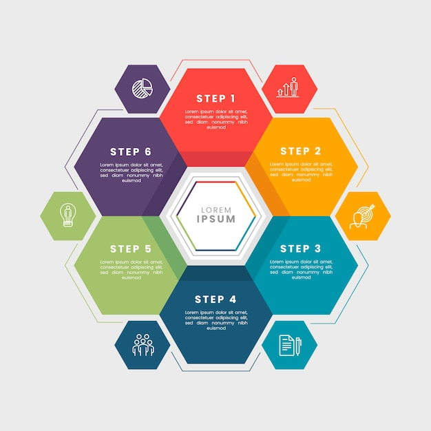 Flat business infographic steps Free Vector