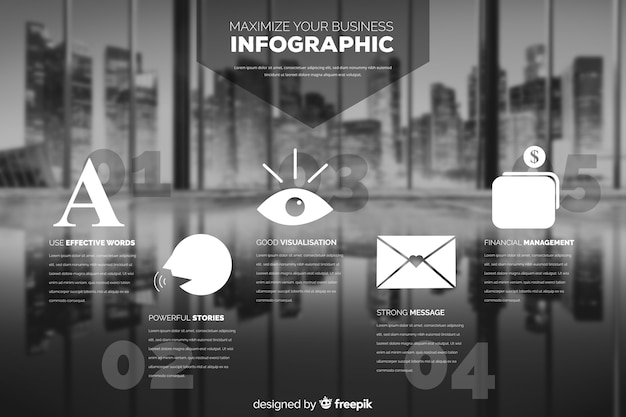 Flat business infographic with photo Free Vector