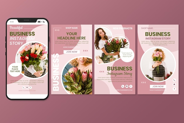 Flat business instagram story collection Free Vector