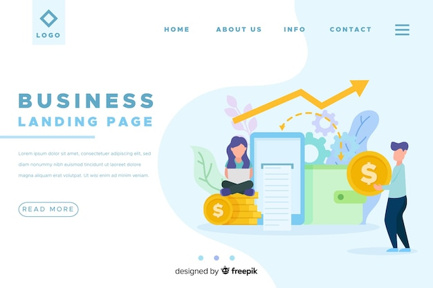 Flat Business Landing Page Template Vector Free Download