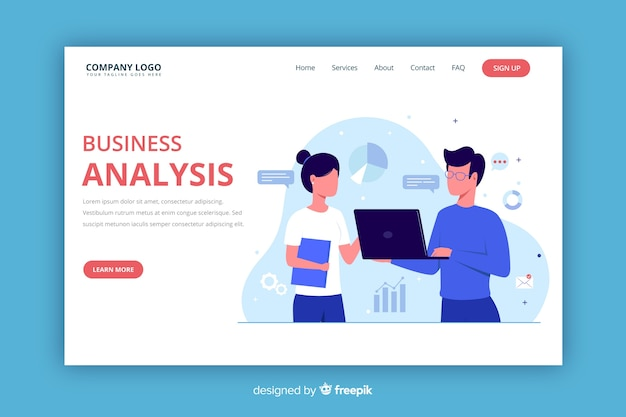 Flat business landing page template Premium Vector