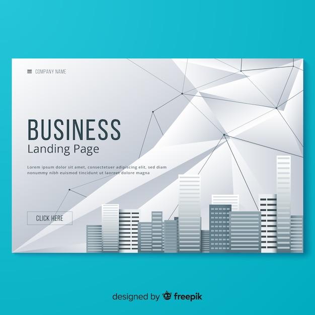Flat business landing page template Premium Vector