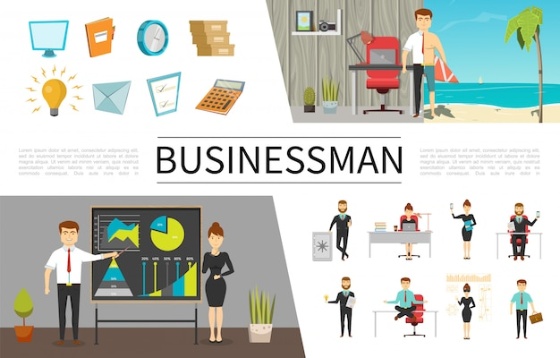 Flat business people concept with businessmen and businesswomen in different situations monitor clock documents lightbulb letter checklist calculator Free Vector