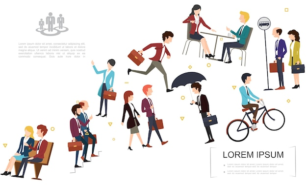 Flat business people template Free Vector