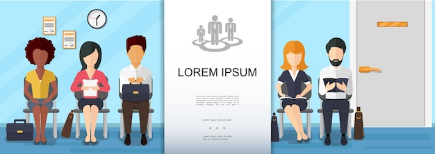 Flat business recruitment colorful concept Free Vector