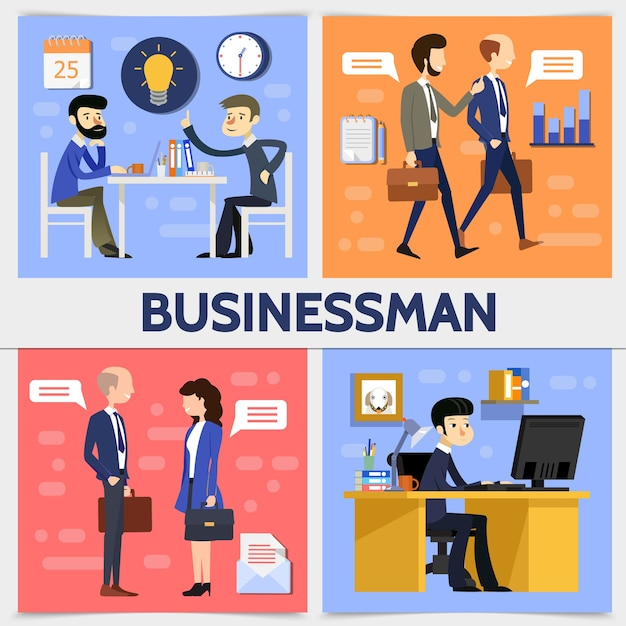 Flat business square concept with businessmen managers lightbulb clock calendar speech clouds Free Vector