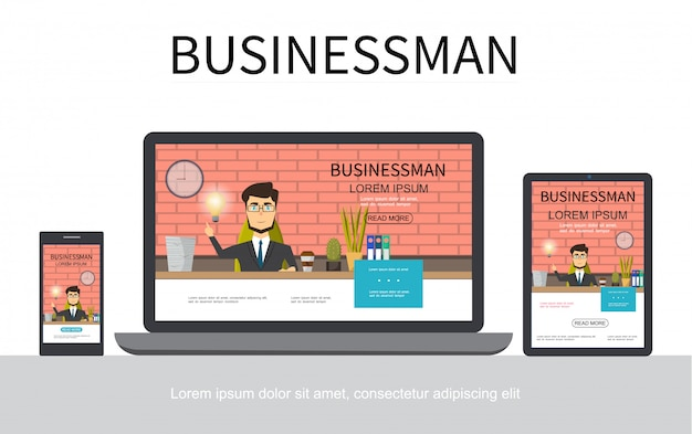 Flat businessman adaptive design concept with business man working at table in office on mobile laptop and tablet screens isolated Free Vector