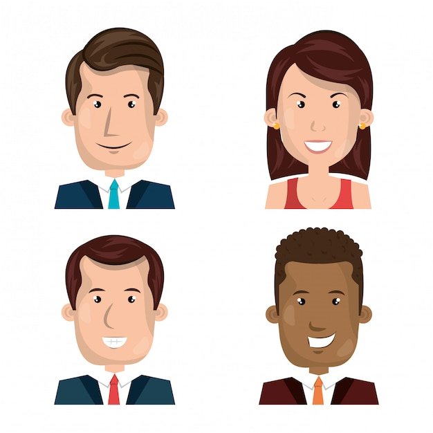Flat businesspeople avatar pack Free Vector