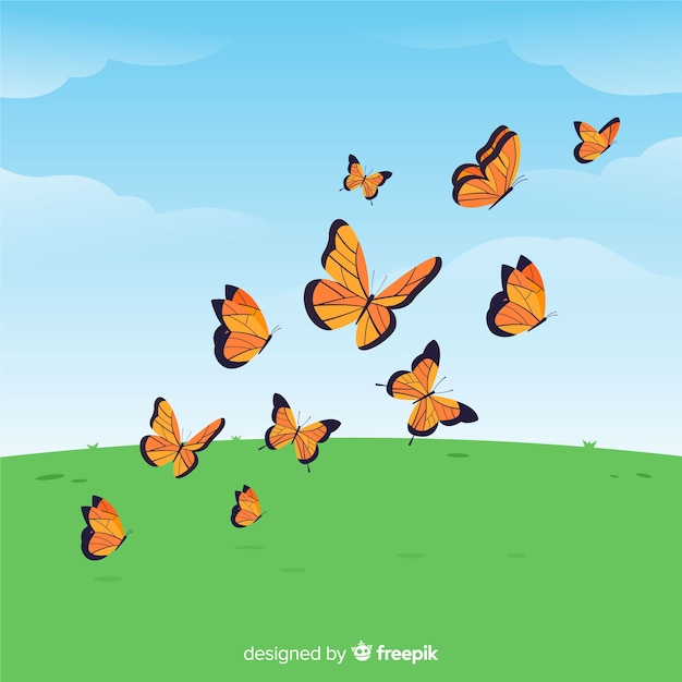 Flat butterflies flying background Free Vector