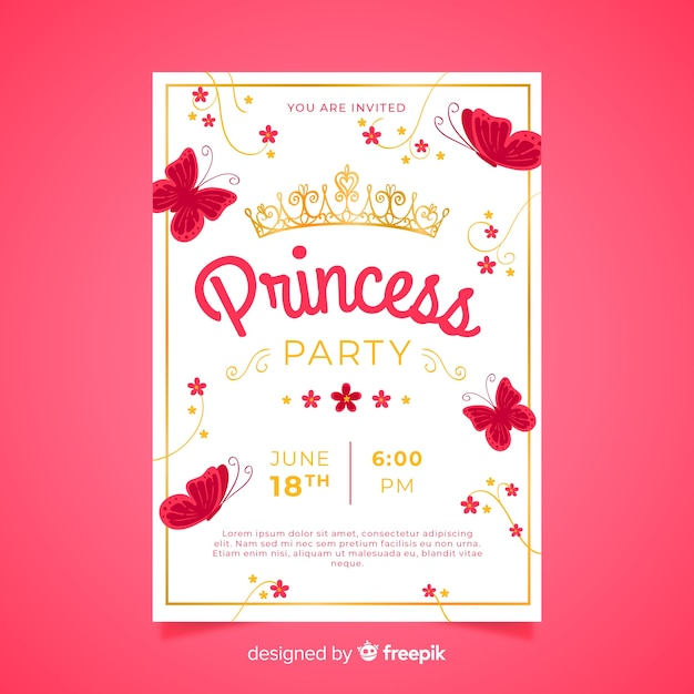 Flat Butterflies Princess Party Invitation Template Vector Free
