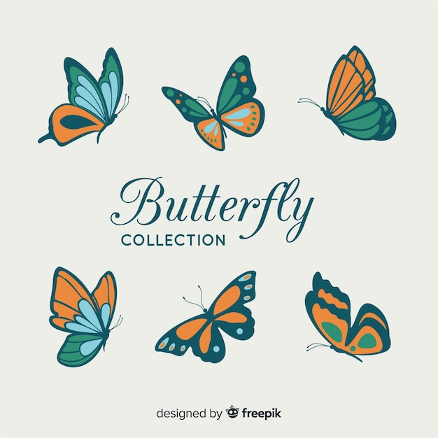 Flat butterfly collection Free Vector