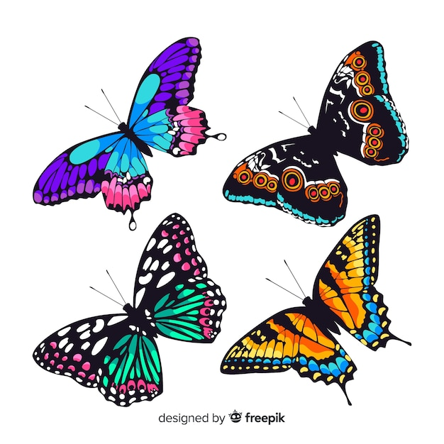 Flat butterfly collection Premium Vector