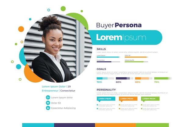 Плоская инфографика персоны покупателя с фотографией женщины Premium векторы