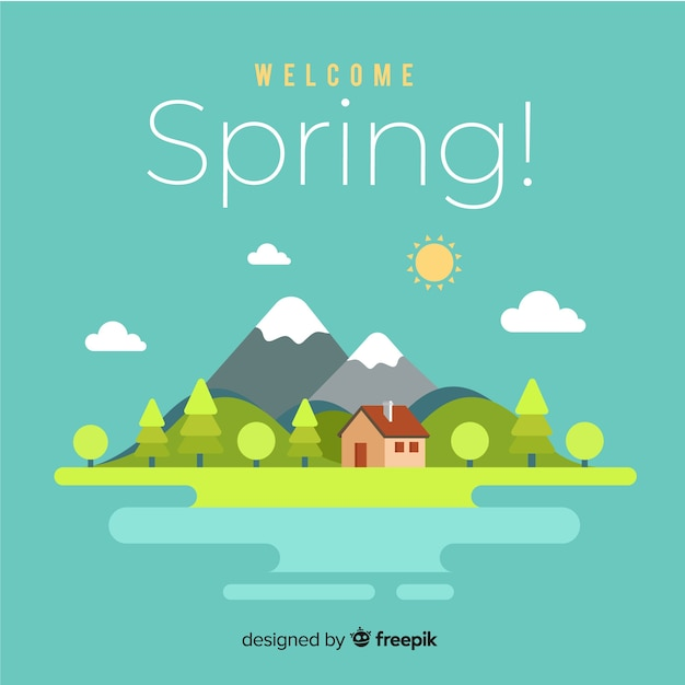 Flat cabin spring background Free Vector