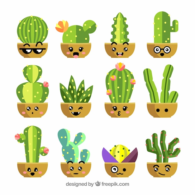 Flat cactus collection Free Vector