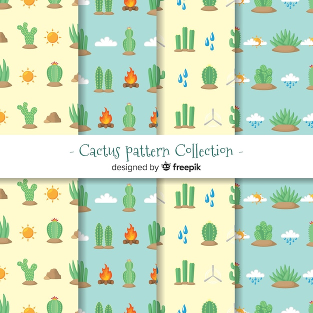 Flat cactus pattern collection Free Vector