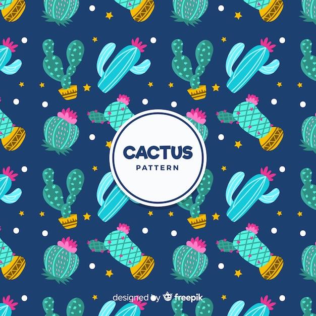 Flat cactus pattern Free Vector