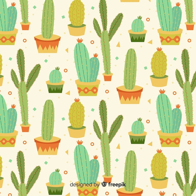 Flat cactus pattern Free Vector