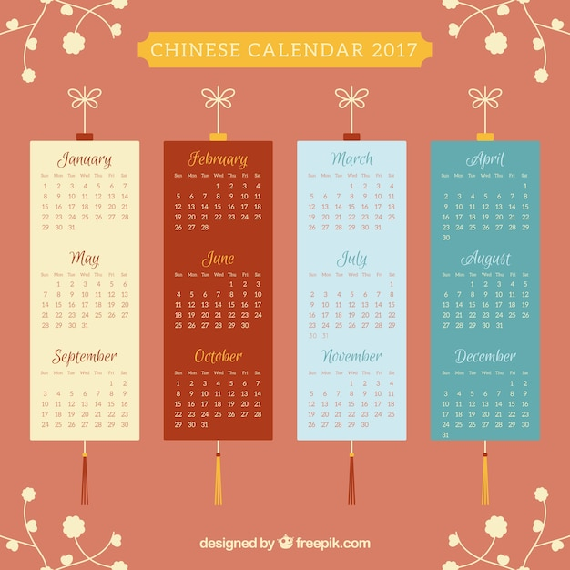 Flat calendar for chinese new year