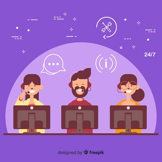 Flat call center concept background Free Vector