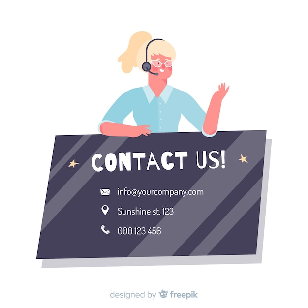 Flat call center contact us concept Free Vector