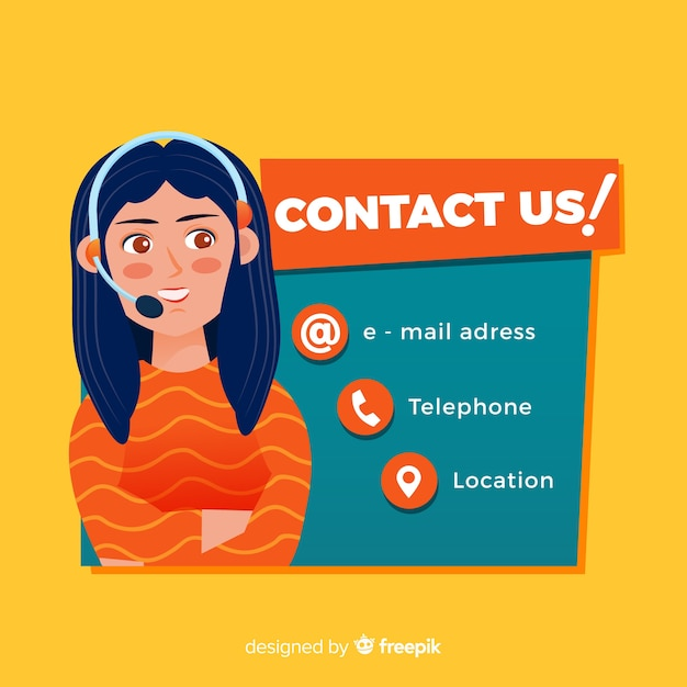 Flat call center information background Free Vector