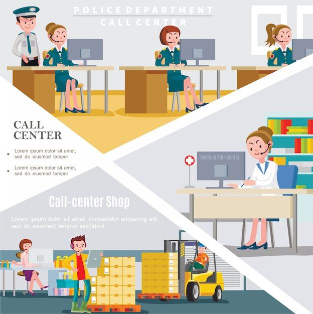 Modello di call center piatto con lavoratori dei servizi di assistenza telefonica dell'ospedale e del negozio del dipartimento di polizia Vettore gratuito