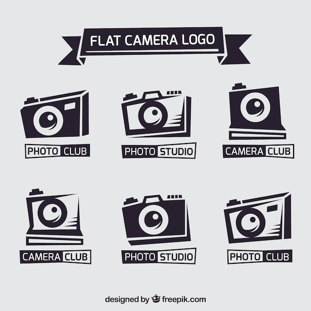 Flat camera logo collection