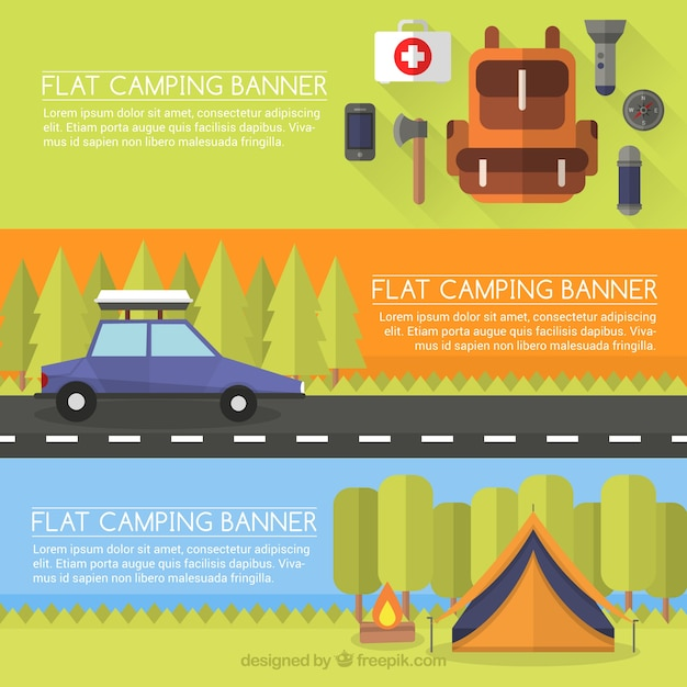 Flat Camping Banner