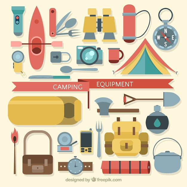 Flat Camping Equipment Premium Vector