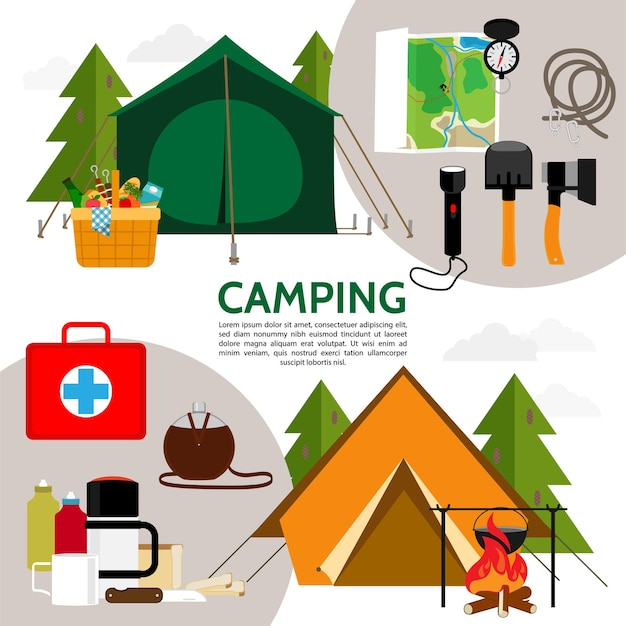 Flat camping icons composition Free Vector