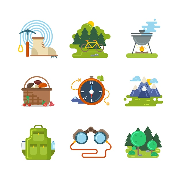 Flat camping outdoor vector icons. travel activity, equipment and adventure illustration Free Vector