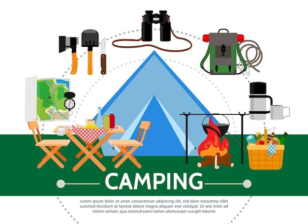 Modello di campeggio piatto Vettore gratuito