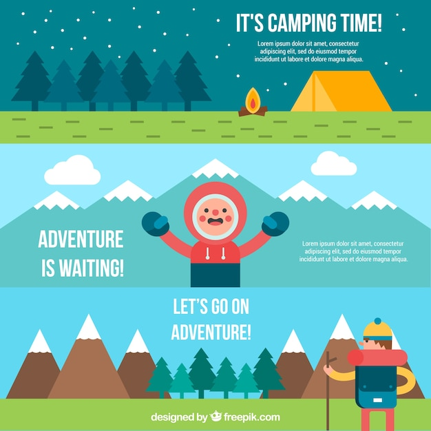Flat campsite and adventure banner\ collection