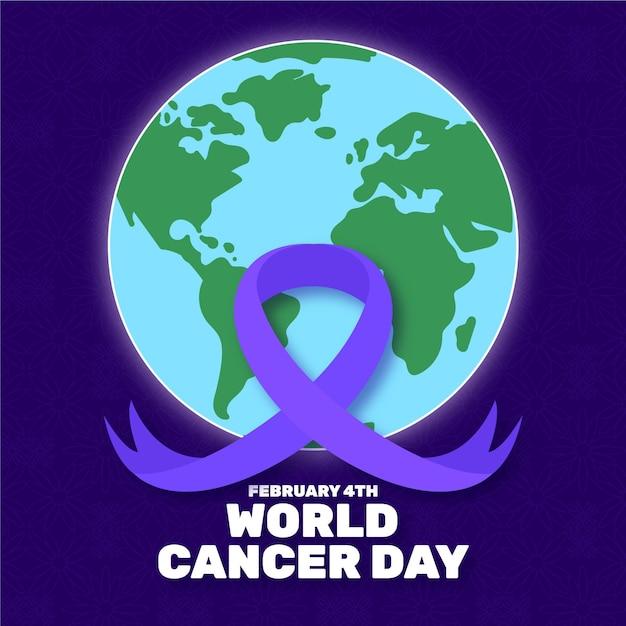Nastro di giorno del cancro piatto con globo terrestre Vettore gratuito