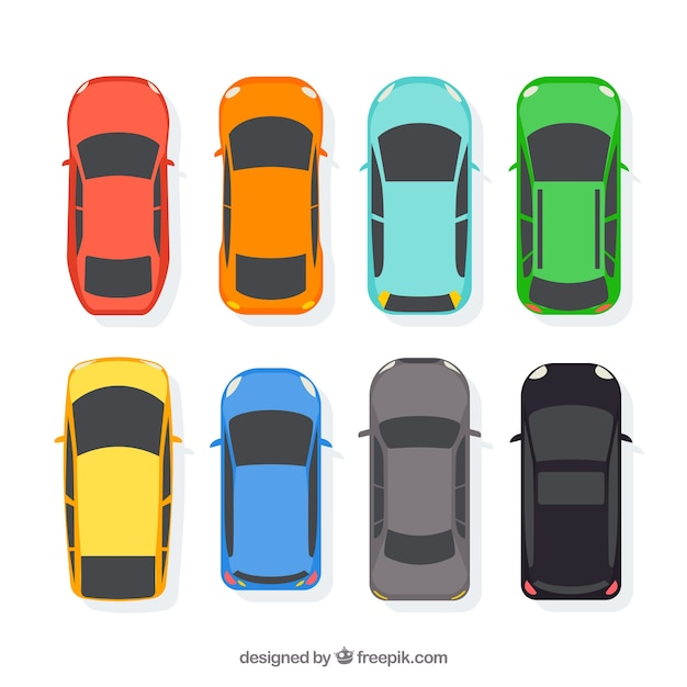 Flat Car Collection In Top View Vector