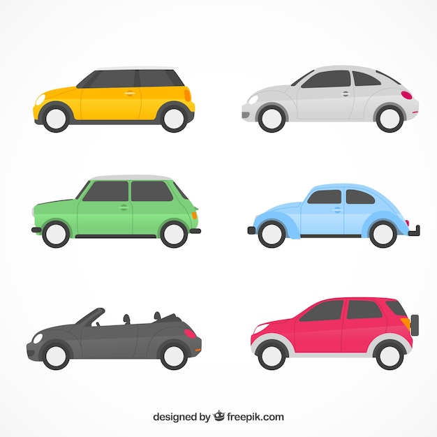 Flat car collection with side view Free Vector
