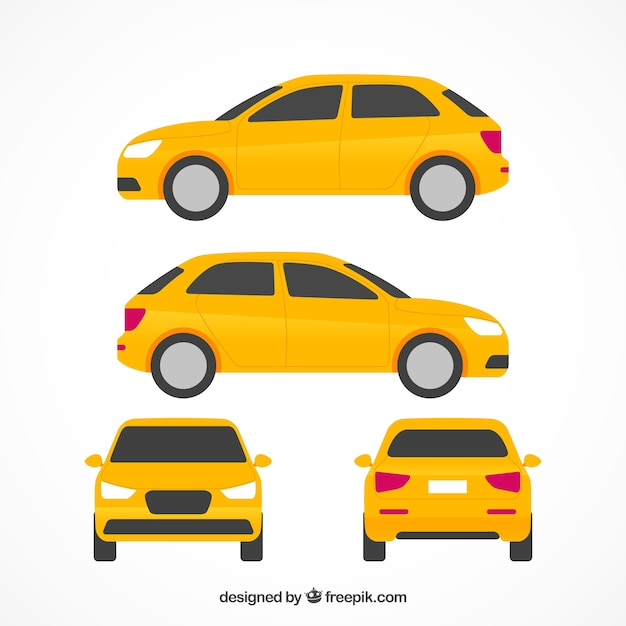 Flat car in different views Free Vector