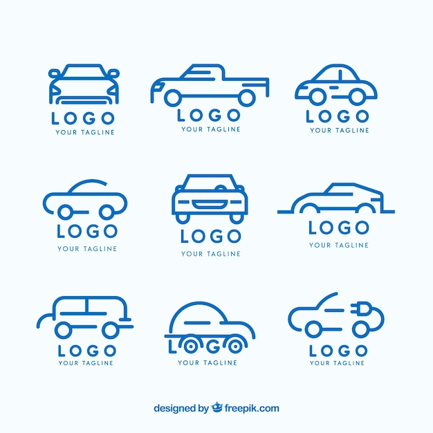 Flat car logo collection Free Vector