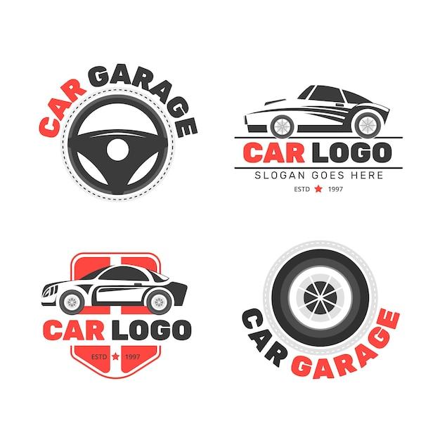 Коллекция логотипов плоских автомобилей Бесплатные векторы
